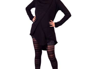 Draped knit jacket with cowl neckline and assymetrical hem by Plastik Wrap.
