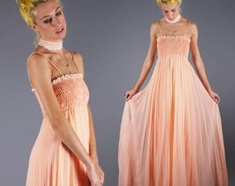 Peach Prairie Maxi Dress With Matching Lace Collar Boho Festival Summer Dress