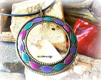 Bohemian Style Necklace,Large Multi Colored Pendant,Tribal Necklace,Leather Jewelry,Summer Outdoors,Summer Party,Hippie Jewelry,Boho Style