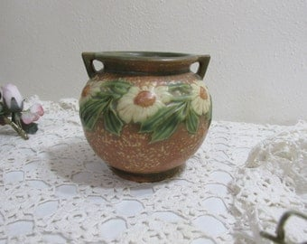 Roseville Pottery Dahlrose Jardiniere 4.25 Inch from 1920s
