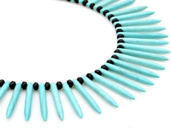 STATEMENT Ethnic Necklace, Blue Turquoise Spikes, Tribal Necklace, Goddess Necklace, Tribal African Modern Style by Mei Faith