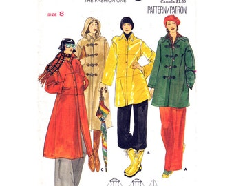 Vintage Coat & Jacket Pattern Butterick 5101 Long Lined Coat Toggle Closing Raincoat Hood Womens Sewing Pattern Size 8 UNCUT