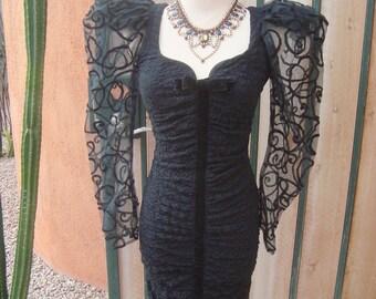 SALE 1980s Climax Karen Okada for David Howard LB Wiggle Dress Huge Sheer Puff Sleeves Size 5/6