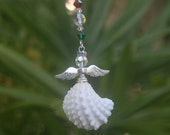 Birthstone Swarovski Crystal Seashell Angel Ornament- Shell Ornament- Shell Angel- Beach Ornament- Christmas Angel