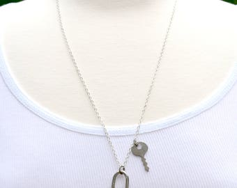 Lock & Key Pendant, Vintage Lock Necklace, Tiny Key Necklace, Key to My Heart, Gift for Her, Silver Lock Pendant, Steampunk Key Pendant