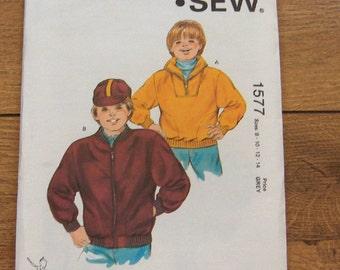vintage 1986 kwik sew pattern boys jacket pullover or zipper opening sz 8-10-12-14 uncut