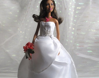 Barbie Bride Strapless Gown Handmade White Hand Beaded Embroidered Layered Skirt + Red Bridal Wrist Bouquet - Handmade Barbie Dress
