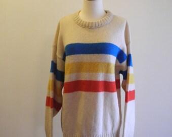 Camp STRIPE wool UNISEX sweater sz. Large XL