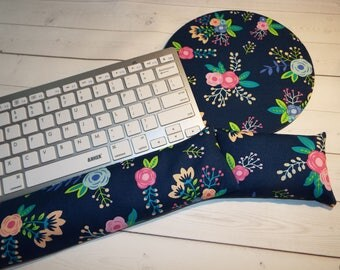 floral mouse pad Keyboard rest and or WRIST REST MousePad set - floral coworker gift - office Desk Accessories