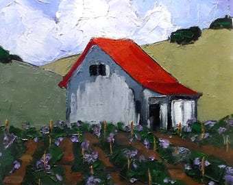 Impressionist Painting Plein Air California Landscape LOS ALTOS HILLS Vineyard Winery Barn Lynne French 16x20