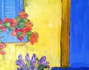 Impressionist Oil Painting Provence LAVENDER NASTURTIUMS Garden Blue Door 11x14 Lynne French Art