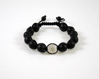 Gemstone Black Onyx & Pave Crystal Shamballa Bracelet