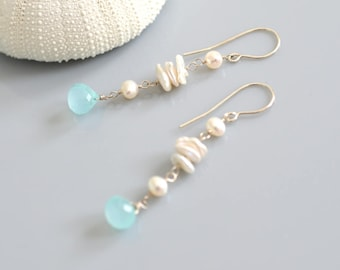 Keishi Chalcedony Earrings - Sterling Silver - Freshwater Pearls, Aqua Foam- Faceted Semi Precious Stone, Wire Wrapped, Hand Shaped