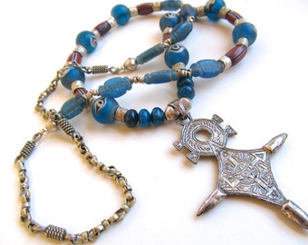 Silver Tuareg Cross Necklace w Antique Islamic Beads