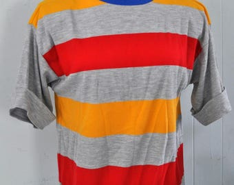 Ladies Striped Shirt Design Baggy 90s Fit Sailing Beach Summer Comfy Coverup Colors Simple Nautical Womens Medium