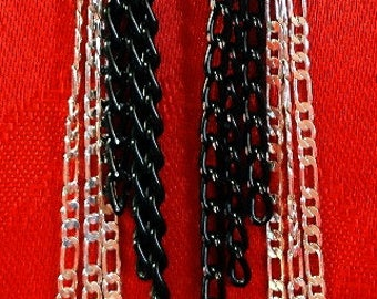 Unique Diamond cut Black aluminum Chain and Sterling Silver Figaro Chain Earrings