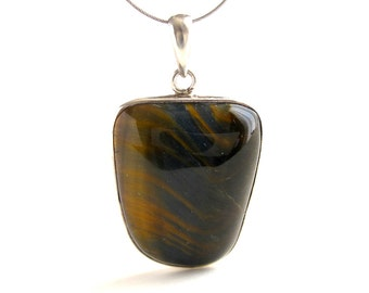 Tiger Eye Pendant Sterling Silver Pendant With Natural Tiger Eye Jewelry