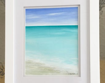 Beach Painting Ocean Painting Framed Modern Beach Art  Contemporary Abstract Seascape  Seascape Beach Original Seascape