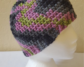 Womens Crochet Beanie / Purple, Green, Gray And Black/ Adult Size Crocheted Skull Cap/ Hat/ Handmade Winter Accessories