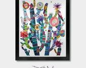 Modern Tribes. Open edition eco friendly print by Jason Smith. Southwest Folk Art / Birds on Cactus Wall Art