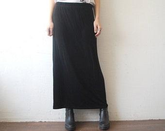 90s skinny maxi skirt. witchy skirt. stretchy gothic skirt - small to medium