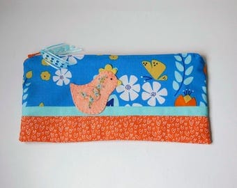 "Zipper Pouch, 4.75x9.75"" in orange, blue, yellow, aqua and white floral and heart print fabric with Handmade Felt Chicken Embellishment"
