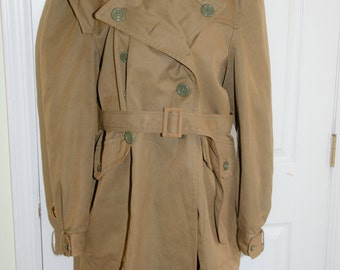 Vintage 1960's 70's Military Double Breasted Trench Jacket