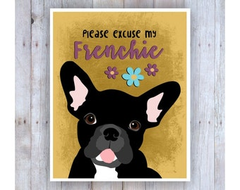 French Bulldog Art, French Bulldog Decor, French Bulldog Print, French Bulldog Gift, French Bulldog Poster, Frenchie