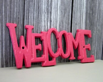 Welcome Sign, Cast Iron, Watermelon Pink, Plaque, Painted, Door Sign, House Sign, Metal Welcome Sign, Indoor, Outdoor, Cast Iron Wall Decor