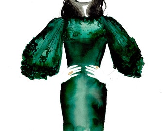 The Emerald Dress, print from original watercolor and mixed media fashion illustration