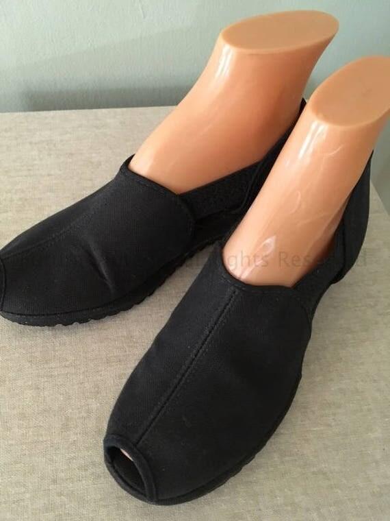 1940s SUMMERETTES Black Peep Toe Canvas Slip On Shoes-NOS-Sz 6