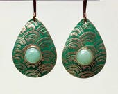 Natural copper textured teardrops with aventurine cabochons by Paulbead, patina antiqued earrings, Asian style, statement earrings