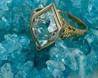 Aquamarine Vintage Deco Ring Gold 14K  Raised Filigree March Pisces Mermaid
