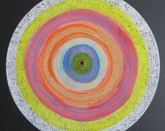 "Reverse Rainbow Pointillism Dots Mandala Recycled 12"" Vinyl Record LP Original Art"