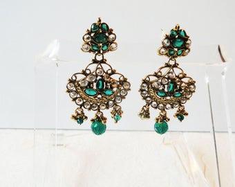 Green and Clear Crystal Earrings Drop Pierced Dangling