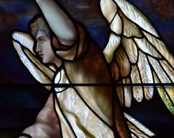 White Winged Angel - Fine Art Canvas Print of Stained Glass Window, Brooklyn, New York City, Wall Art, Home Decor
