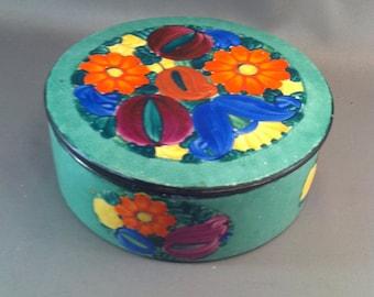 Vintage j. Mrazek Peasant Hand Painted Czeck Pottery Covered Bowl, Signed Czech Pottery, Czezh Painted Covered Bowl, Czech, **USA ONLY**