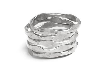 Sterling Silver Stacking Rings - Hammered Silver Ring Stack - Stacking Ring Set - Everyday Boho Jewelry - Set of 5 Silver Stacking Rings