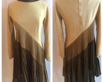 Fantastic 1960s Gold, Bronze and Chocolate Glitter Party Dress with Accordion Swing Skirt