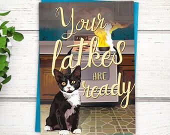 Funny Hanukkah Card. Cat cooking latkes. Funny cat Hanukkah card. Funny Chanukah cards. Funny Jewish holiday cards. Kitten Hanukkah card.
