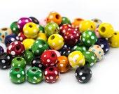 Round Ball  Wood  Beads, 100pcs, 10mm, Painted Wood Beads, Flower pattern, 3mm Hole -B743