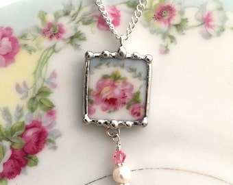 Broken China Jewelry - pendant necklace - antique pink roses - pearl and crystal beads - recycled china - antique French china