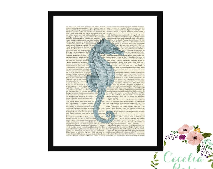 Seahorse Vintage Book Page Art Box Frame or Print Upcycled Nautical Nursery