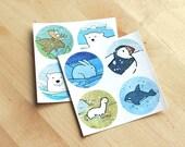 Sticker Set, Animals of the North, 8 round art stickers