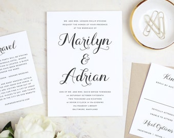 Instantly printable wedding invitation templates by swellandgrand instant printable wedding invitation template calligrapher script word or pages mac or pc stopboris Image collections