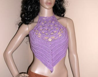 Hand Crochet Flower of Life Halter Top, festival clothing, cropped top, festival top, beach top, summer top, Crochet Halter Top in Lavender