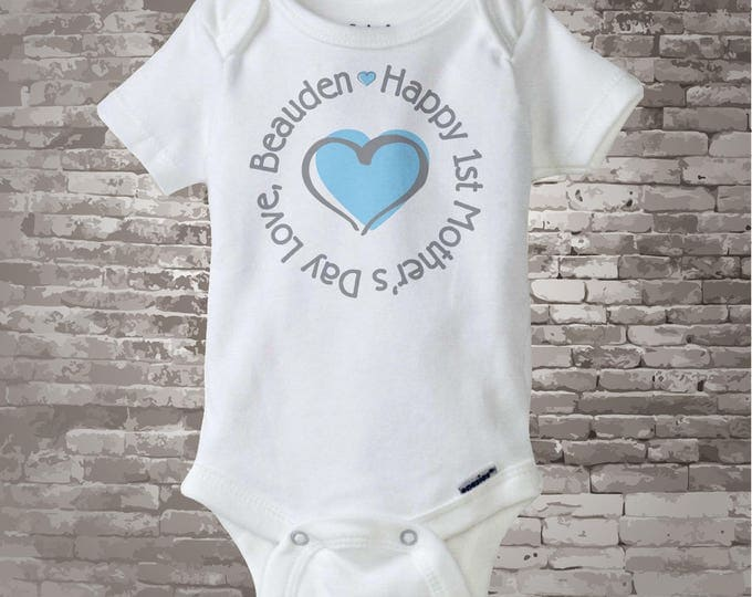 First Mother's Day Onesie, 1st Mother's Day Onsie - Blue Heart Shirt or Onesie, New Mom Gift - Boy's First Mother's Day Outfit - 04262012a