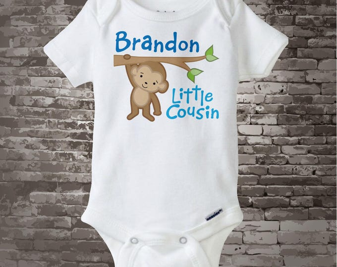 Personalized Little Cousin Boy Monkey Tee Shirt or Onesie with one cute Monkey 12012014b
