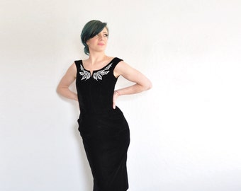 mid century modern black velvet cocktail dress . beaded leaf detail .extra small.xs .sale