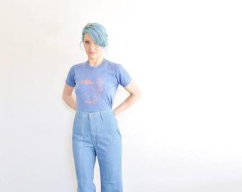 high waist Levi Strauss blue jeans . retro 1970 orange tab wide leg denim pant .medium
